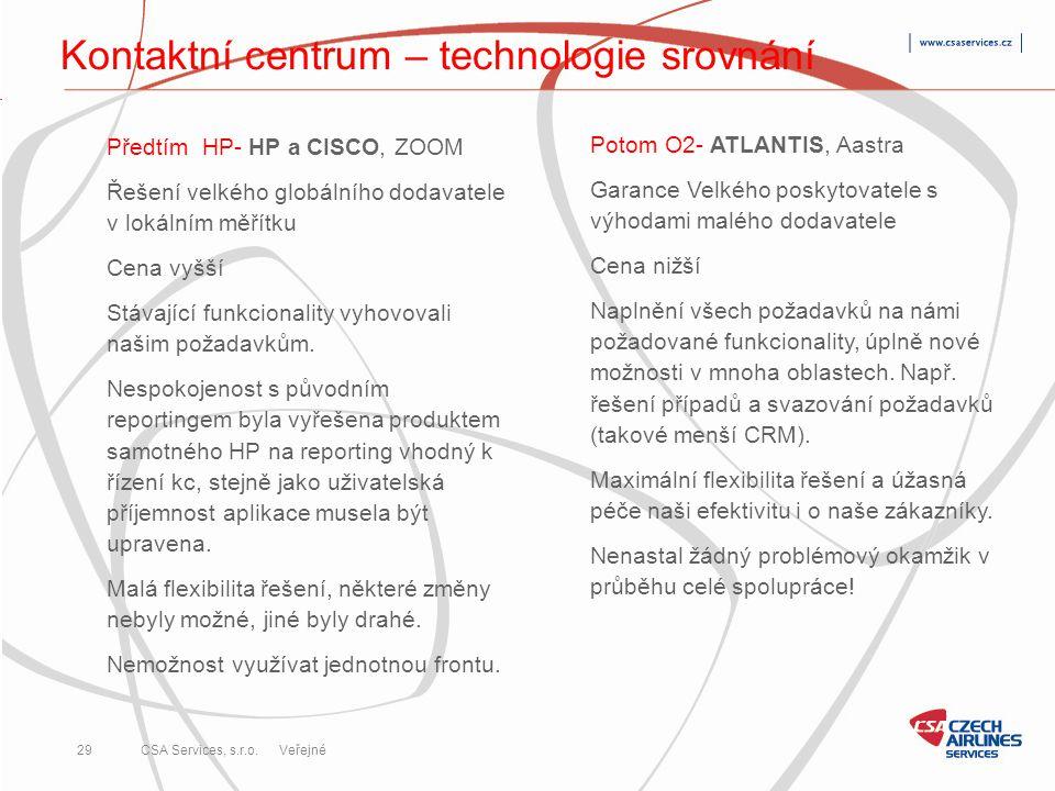 CSA Services, s.r.o. 29 CSA Services, s.r.o. Veřejné Kontaktní centrum – technologie srovnání Potom O2- ATLANTIS, Aastra Garance Velkého poskytovatele