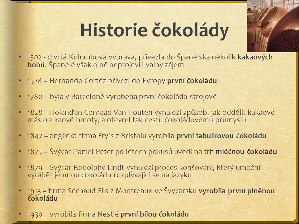 Historie čokolády  1502 - čtvrtá Kolumbova výprava, přivezla do Španělska několik kakaových bobů. Španělé však o ně neprojevili valný zájem  1528 –