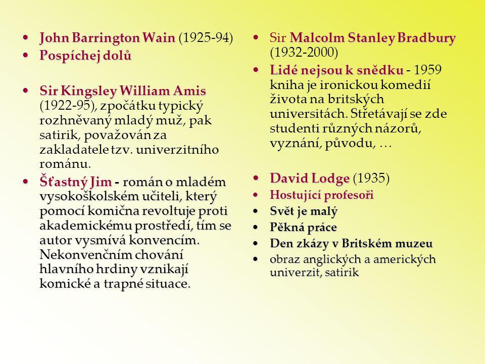 •John Barrington Wain •John Barrington Wain (1925-94) •Pospíchej dolů •Sir Kingsley William Amis •Sir Kingsley William Amis (1922-95), zpočátku typick