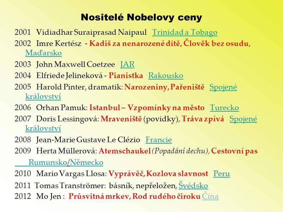 Nositelé Nobelovy ceny 2001 Vidiadhar Suraiprasad Naipaul Trinidad a TobagoTrinidad a Tobago 2002 Imre Kertész - Kadiš za nenarozené dítě, Člověk bez