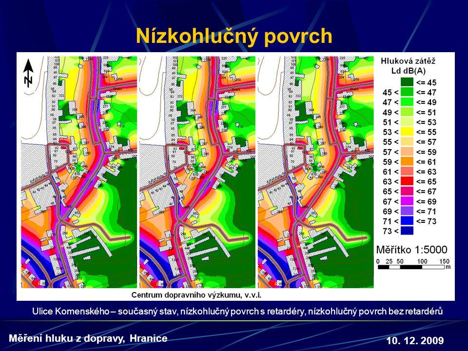 10. 12. 2009 Měření hluku z dopravy, Hranice Nízkohlučný povrch Ulice Komenského – současný stav, nízkohlučný povrch s retardéry, nízkohlučný povrch b