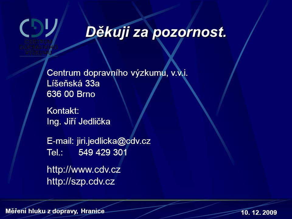 10. 12. 2009 Měření hluku z dopravy, Hranice Děkuji za pozornost. Centrum dopravního výzkumu, v.v.i. Líšeňská 33a 636 00 Brno Kontakt: Ing. Jiří Jedli