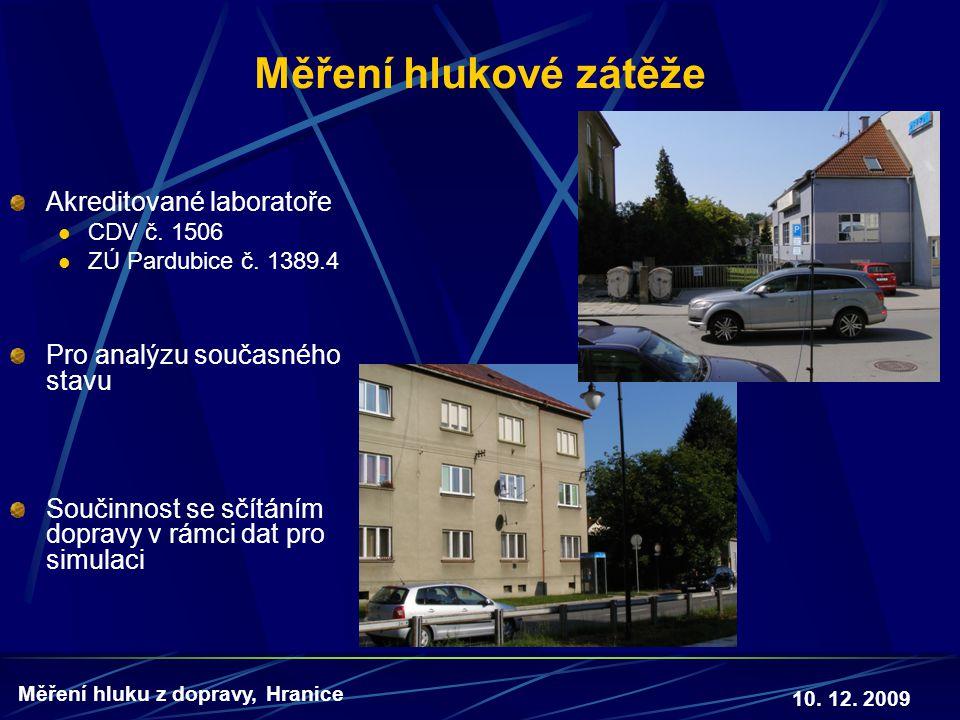 10. 12. 2009 Měření hluku z dopravy, Hranice Měření hlukové zátěže Akreditované laboratoře  CDV č. 1506  ZÚ Pardubice č. 1389.4 Pro analýzu současné