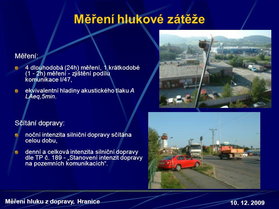 10. 12. 2009 Měření hluku z dopravy, Hranice Měření hlukové zátěže Měření: 4 dlouhodobá (24h) měření, 1 krátkodobé (1 - 2h) měření - zjištění podílu k