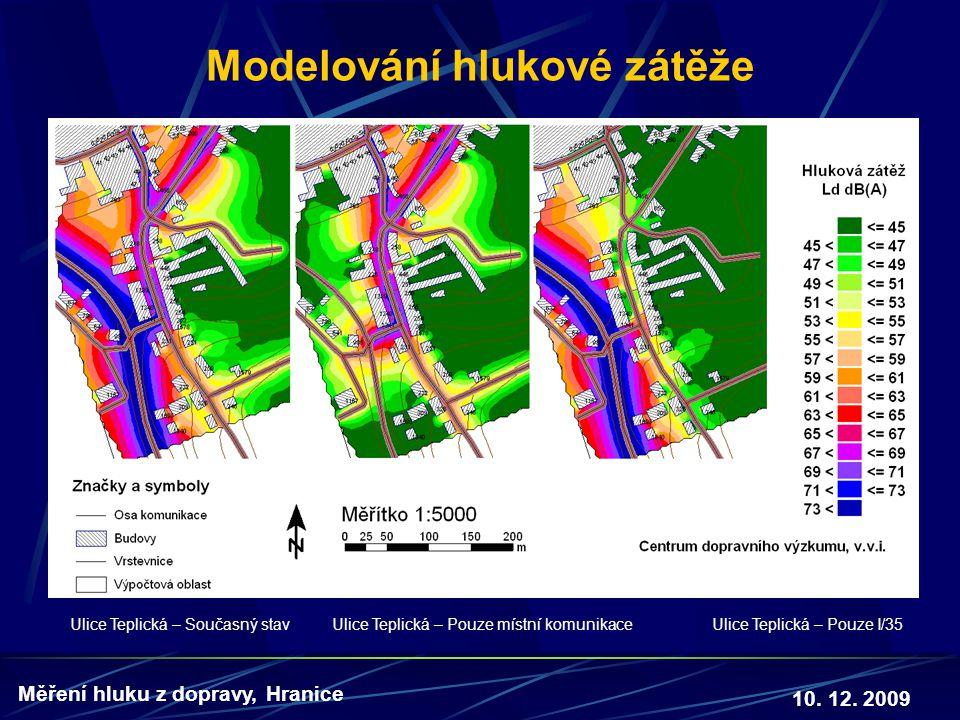 10. 12. 2009 Měření hluku z dopravy, Hranice Modelování hlukové zátěže Ulice Teplická – Současný stav Ulice Teplická – Pouze místní komunikace Ulice T