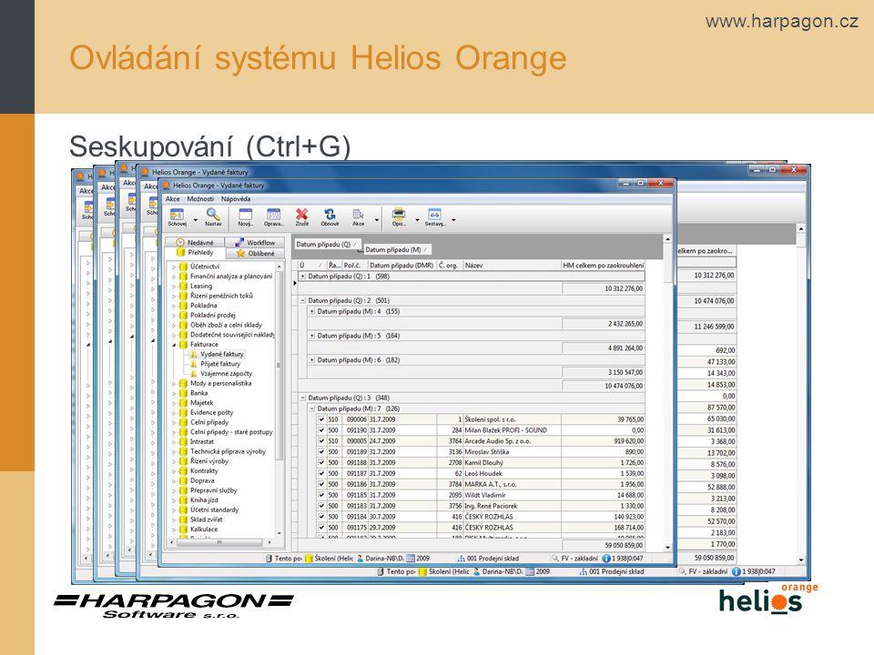 www.harpagon.cz Ovládání systému Helios Orange Seskupování (Ctrl+G)