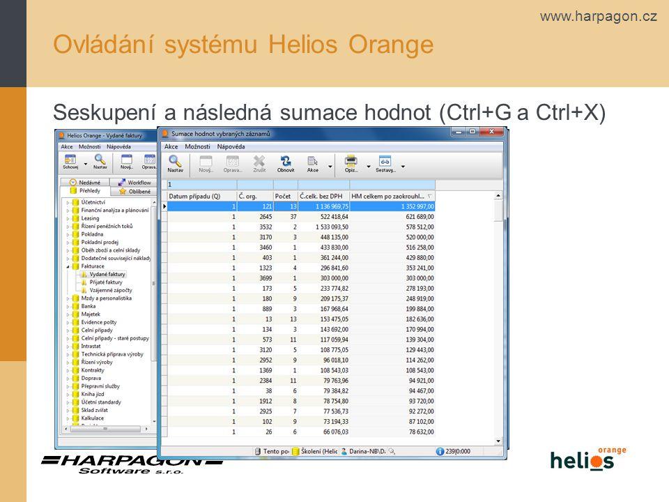 www.harpagon.cz Ovládání systému Helios Orange Seskupení a následná sumace hodnot (Ctrl+G a Ctrl+X)