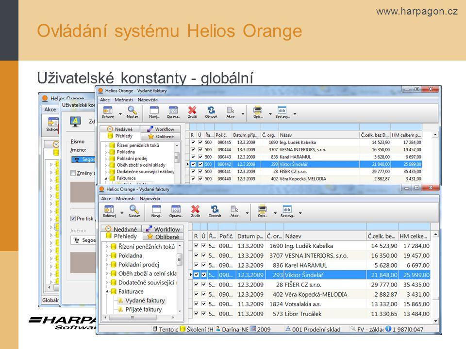 www.harpagon.cz Ovládání systému Helios Orange Uživatelské konstanty - globální