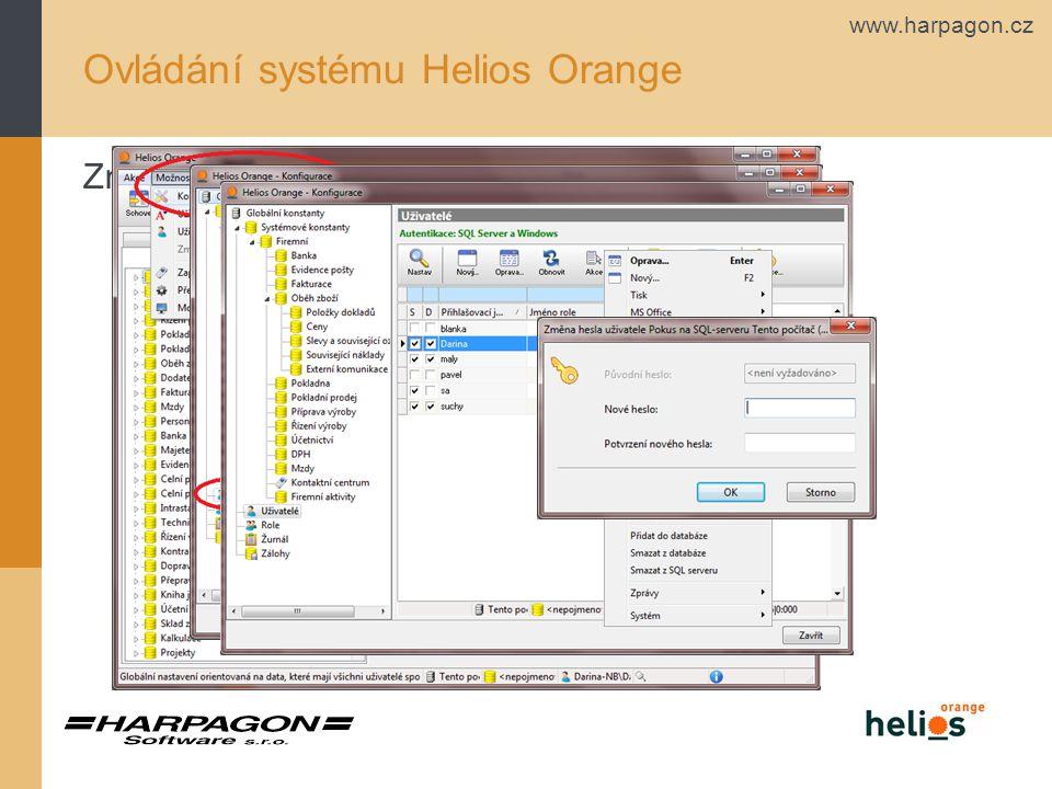 www.harpagon.cz Ovládání systému Helios Orange Změna hesla