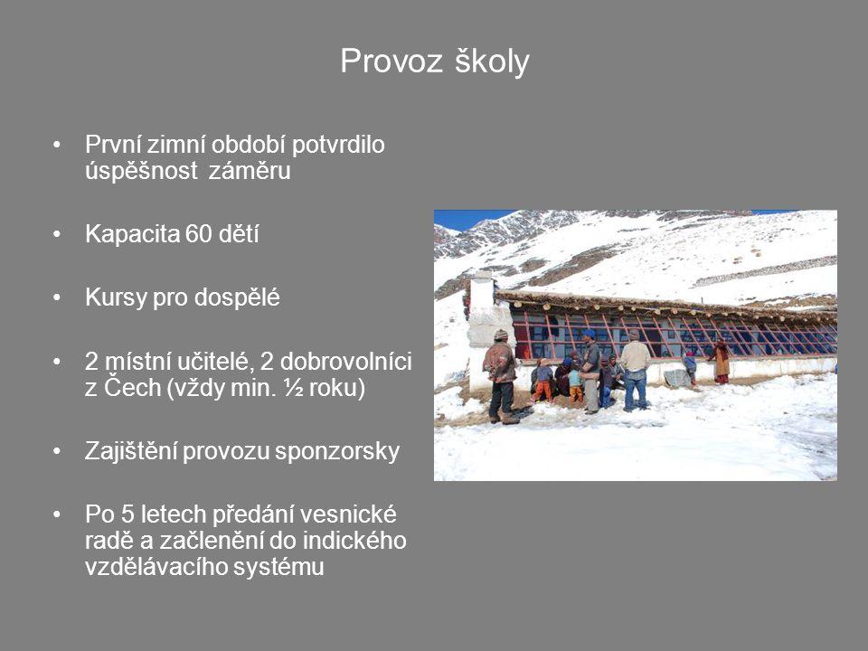Provoz školy •První zimní období potvrdilo úspěšnost záměru •Kapacita 60 dětí •Kursy pro dospělé •2 místní učitelé, 2 dobrovolníci z Čech (vždy min.