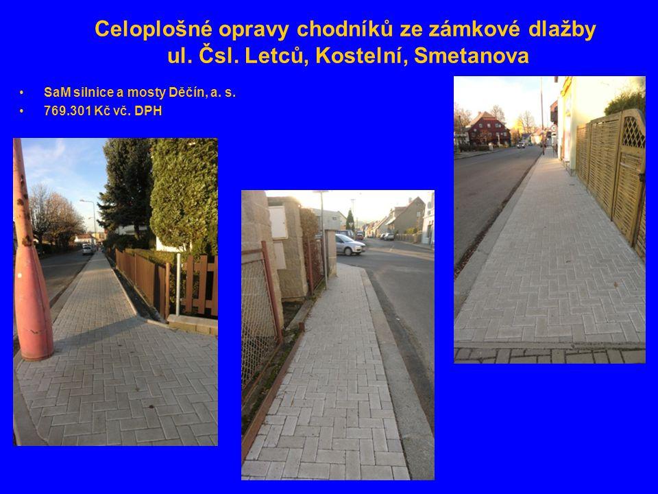 Celoplošné opravy chodníků ze zámkové dlažby ul. Čsl.