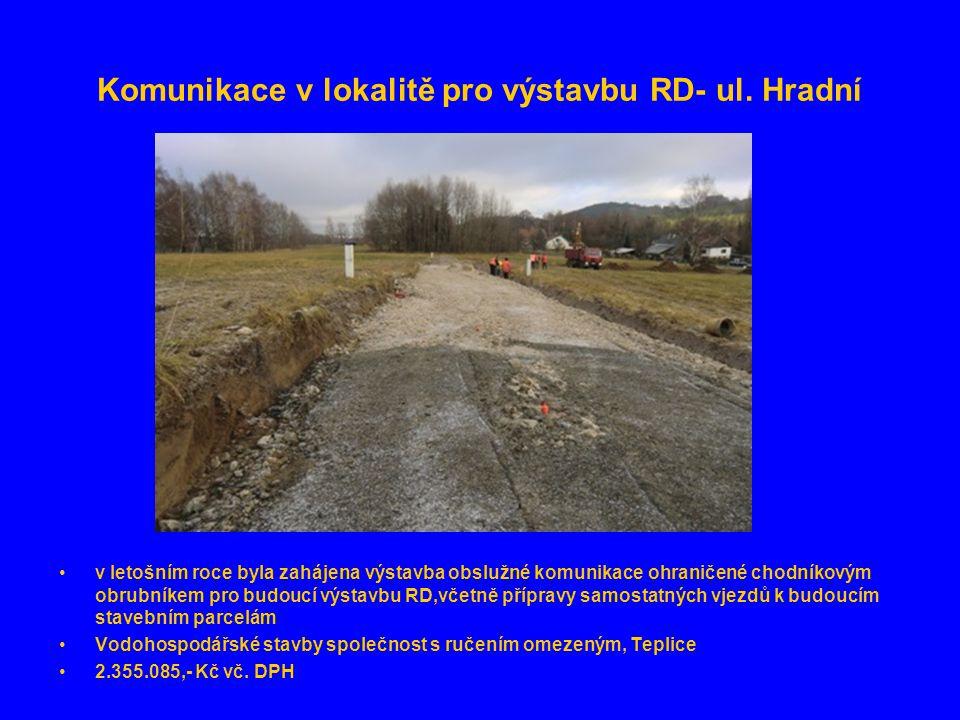 Komunikace v lokalitě pro výstavbu RD- ul. Hradní •v letošním roce byla zahájena výstavba obslužné komunikace ohraničené chodníkovým obrubníkem pro bu
