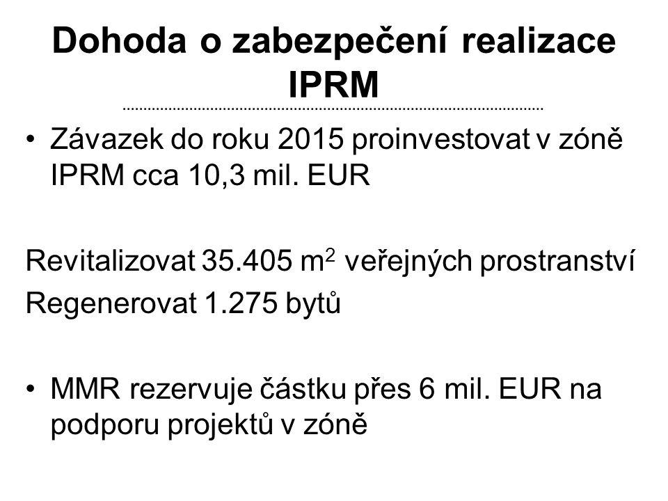 Dohoda o zabezpečení realizace IPRM •Závazek do roku 2015 proinvestovat v zóně IPRM cca 10,3 mil. EUR Revitalizovat 35.405 m 2 veřejných prostranství