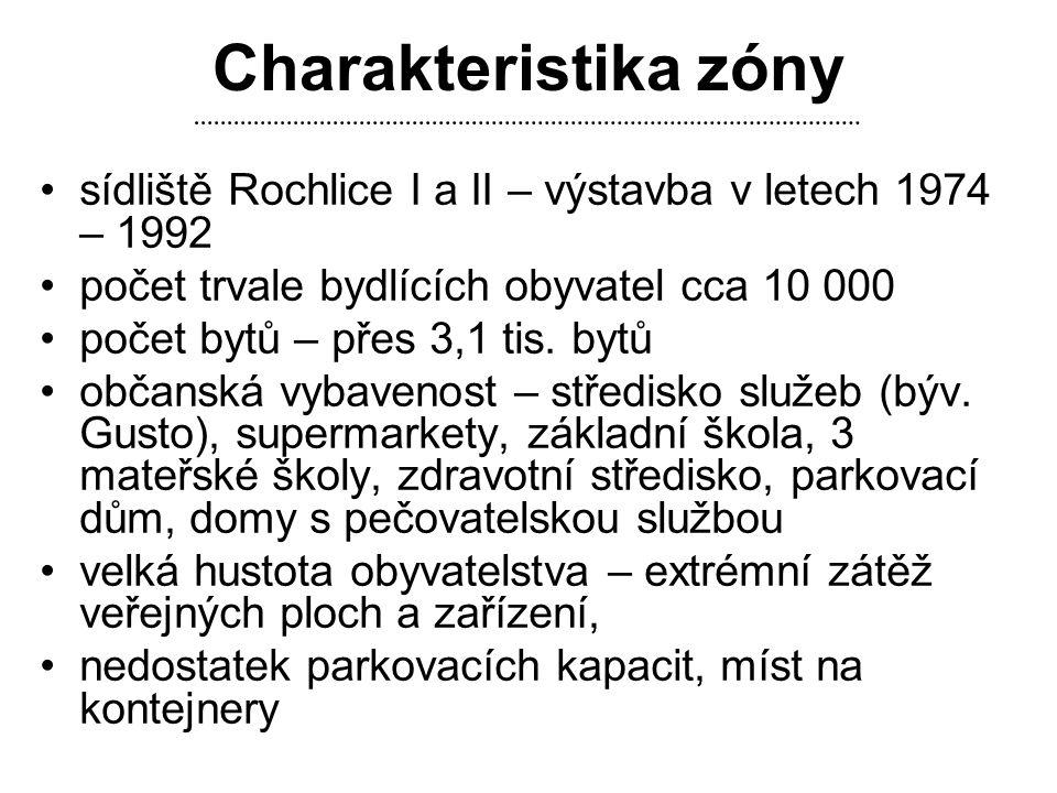 Charakteristika zóny •sídliště Rochlice I a II – výstavba v letech 1974 – 1992 •počet trvale bydlících obyvatel cca 10 000 •počet bytů – přes 3,1 tis.