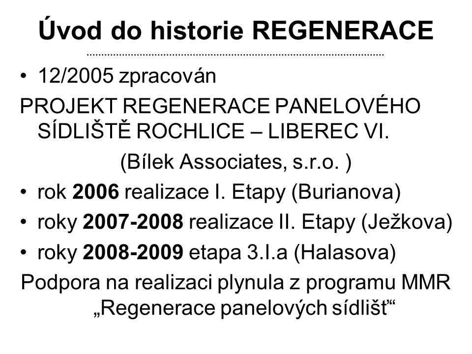Úvod do historie REGENERACE •12/2005 zpracován PROJEKT REGENERACE PANELOVÉHO SÍDLIŠTĚ ROCHLICE – LIBEREC VI. (Bílek Associates, s.r.o. ) •rok 2006 rea