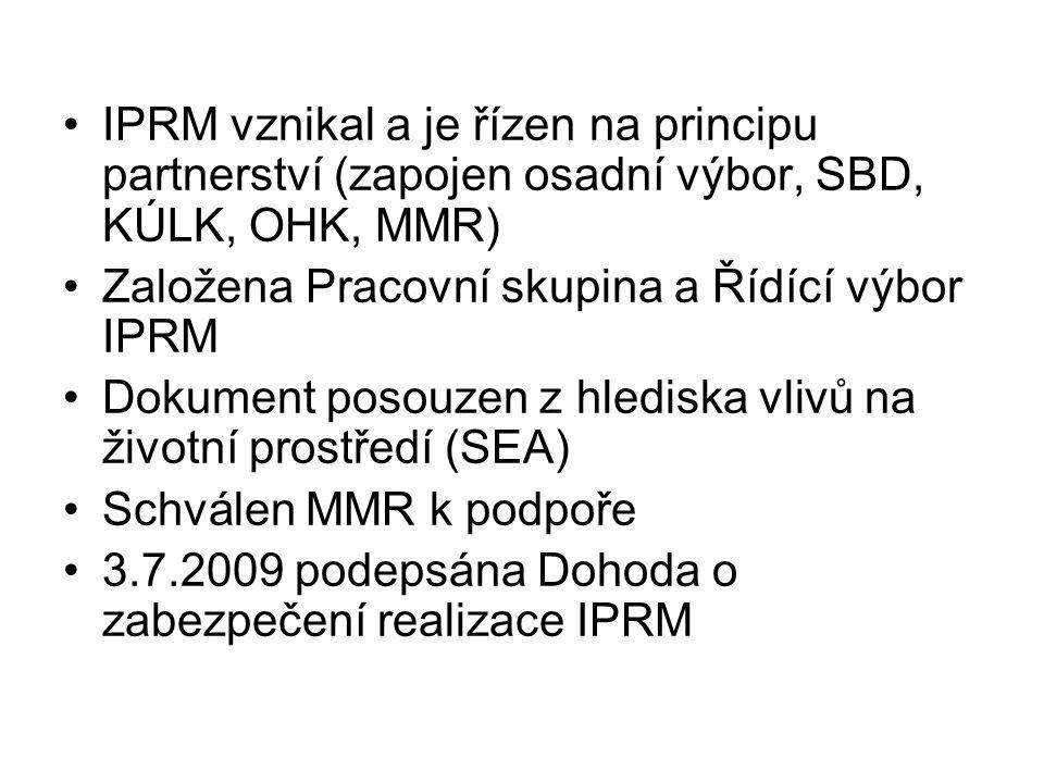 •IPRM vznikal a je řízen na principu partnerství (zapojen osadní výbor, SBD, KÚLK, OHK, MMR) •Založena Pracovní skupina a Řídící výbor IPRM •Dokument