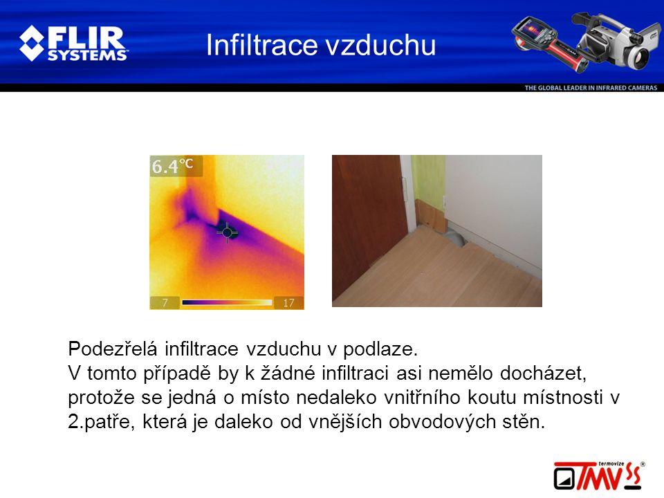 Infiltrace vzduchu Podezřelá infiltrace vzduchu v podlaze. V tomto případě by k žádné infiltraci asi nemělo docházet, protože se jedná o místo nedalek