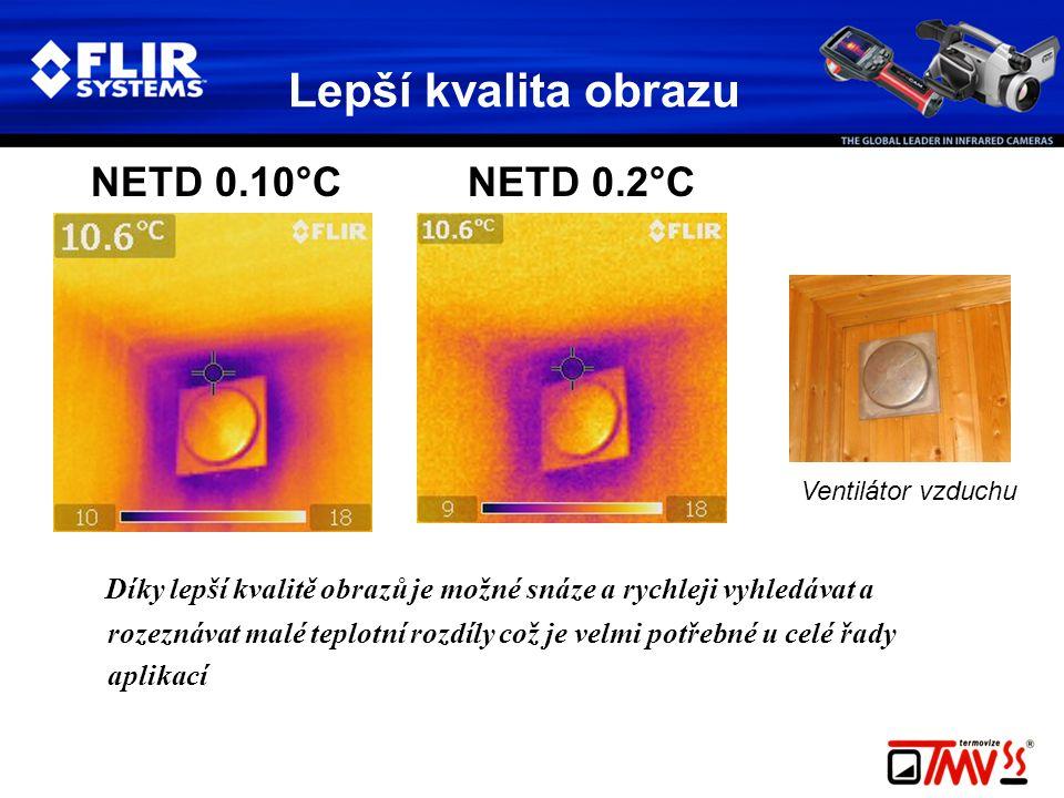 Lepší kvalita obrazu NETD 0.10°C NETD 0.2°C Díky lepší kvalitě obrazů je možné snáze a rychleji vyhledávat a rozeznávat malé teplotní rozdíly což je velmi potřebné u celé řady aplikací Ventilátor vzduchu