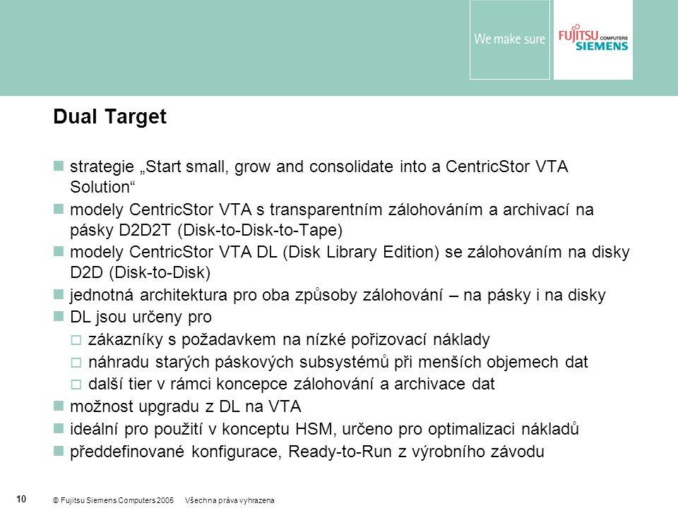"""© Fujitsu Siemens Computers 2005 Všechna práva vyhrazena 10 Dual Target  strategie """"Start small, grow and consolidate into a CentricStor VTA Solution  modely CentricStor VTA s transparentním zálohováním a archivací na pásky D2D2T (Disk-to-Disk-to-Tape)  modely CentricStor VTA DL (Disk Library Edition) se zálohováním na disky D2D (Disk-to-Disk)  jednotná architektura pro oba způsoby zálohování – na pásky i na disky  DL jsou určeny pro  zákazníky s požadavkem na nízké pořizovací náklady  náhradu starých páskových subsystémů při menších objemech dat  další tier v rámci koncepce zálohování a archivace dat  možnost upgradu z DL na VTA  ideální pro použití v konceptu HSM, určeno pro optimalizaci nákladů  předdefinované konfigurace, Ready-to-Run z výrobního závodu  Široká podpora všech zásadních platforem serverů, operačních systémů a zálohovacích produktů  Výrazné snížení TCO při zálohování na pásky  Řízení magnetopáskové infrastruktury a celého zálohovacího subsystému"""