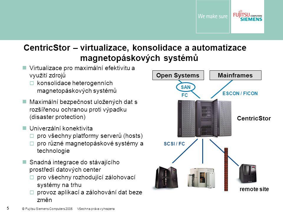 © Fujitsu Siemens Computers 2005 Všechna práva vyhrazena 5  Virtualizace pro maximální efektivitu a využití zdrojů  konsolidace heterogenních magnetopáskových systémů  Maximální bezpečnost uložených dat s rozšířenou ochranou proti výpadku (disaster protection)  Univerzální konektivita  pro všechny platformy serverů (hosts)  pro různé magnetopáskové systémy a technologie  Snadná integrace do stávajícího prostředí datových center  pro všechny rozhodující zálohovací systémy na trhu  provoz aplikací a zálohování dat beze změn FC ESCON / FICON CentricStor Open SystemsMainframes remote site SCSI / FC SAN CentricStor – virtualizace, konsolidace a automatizace magnetopáskových systémů
