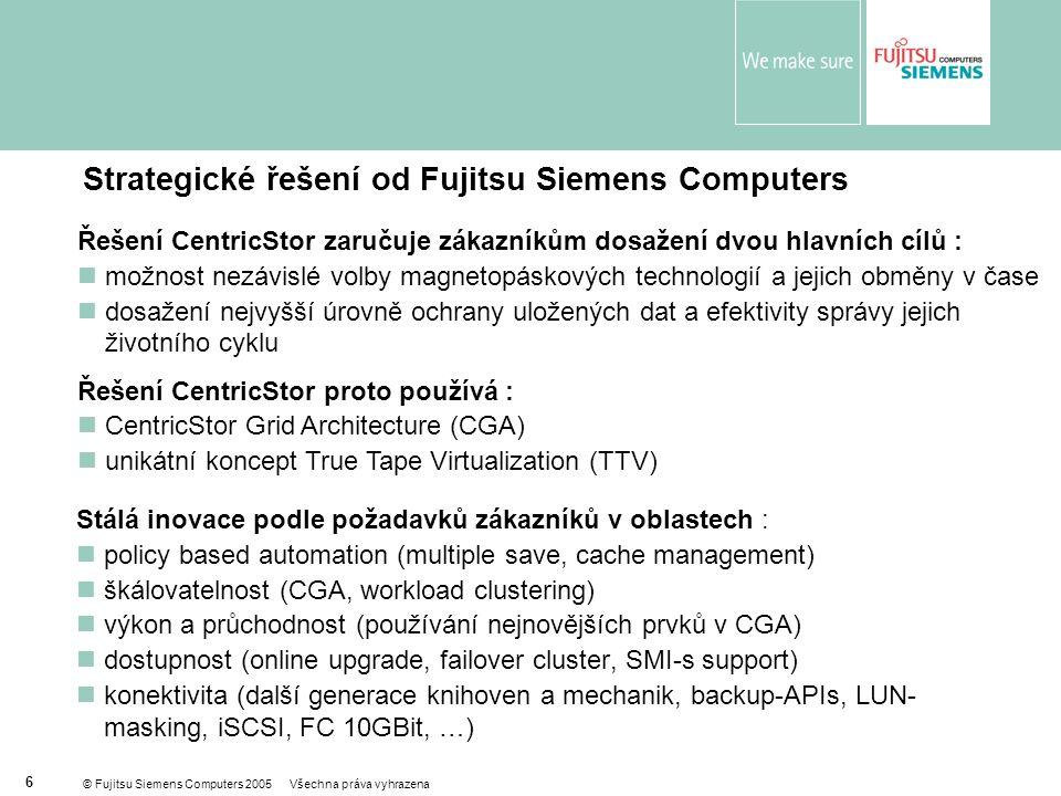 © Fujitsu Siemens Computers 2005 Všechna práva vyhrazena 6 Strategické řešení od Fujitsu Siemens Computers Stálá inovace podle požadavků zákazníků v oblastech :  policy based automation (multiple save, cache management)  škálovatelnost (CGA, workload clustering)  výkon a průchodnost (používání nejnovějších prvků v CGA)  dostupnost (online upgrade, failover cluster, SMI-s support)  konektivita (další generace knihoven a mechanik, backup-APIs, LUN- masking, iSCSI, FC 10GBit, …) Řešení CentricStor zaručuje zákazníkům dosažení dvou hlavních cílů :  možnost nezávislé volby magnetopáskových technologií a jejich obměny v čase  dosažení nejvyšší úrovně ochrany uložených dat a efektivity správy jejich životního cyklu Řešení CentricStor proto používá :  CentricStor Grid Architecture (CGA)  unikátní koncept True Tape Virtualization (TTV)