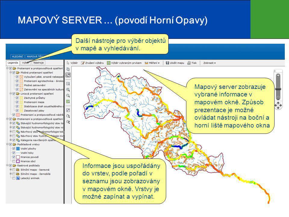 MAPOVÝ SERVER...(povodí Horní Opavy) Mapový server zobrazuje vybrané informace v mapovém okně.