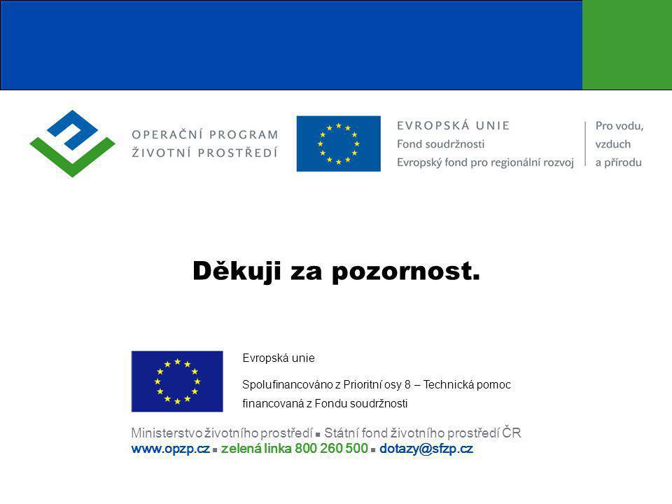 Ministerstvo životního prostředí  Státní fond životního prostředí ČR www.opzp.cz  zelená linka 800 260 500  dotazy@sfzp.cz Děkuji za pozornost.
