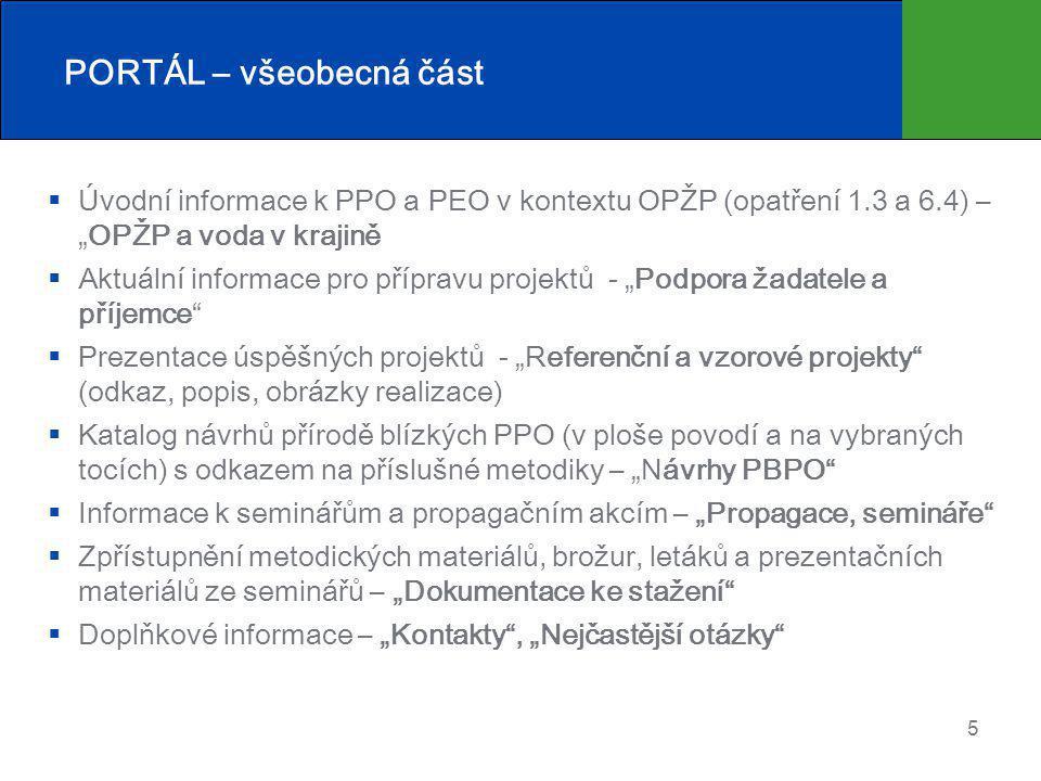 """5 PORTÁL – všeobecná část  Úvodní informace k PPO a PEO v kontextu OPŽP (opatření 1.3 a 6.4) – """"OPŽP a voda v krajině  Aktuální informace pro přípravu projektů - """"Podpora žadatele a příjemce  Prezentace úspěšných projektů - """"Referenční a vzorové projekty (odkaz, popis, obrázky realizace)  Katalog návrhů přírodě blízkých PPO (v ploše povodí a na vybraných tocích) s odkazem na příslušné metodiky – """"Návrhy PBPO  Informace k seminářům a propagačním akcím – """"Propagace, semináře  Zpřístupnění metodických materiálů, brožur, letáků a prezentačních materiálů ze seminářů – """"Dokumentace ke stažení  Doplňkové informace – """"Kontakty , """"Nejčastější otázky"""