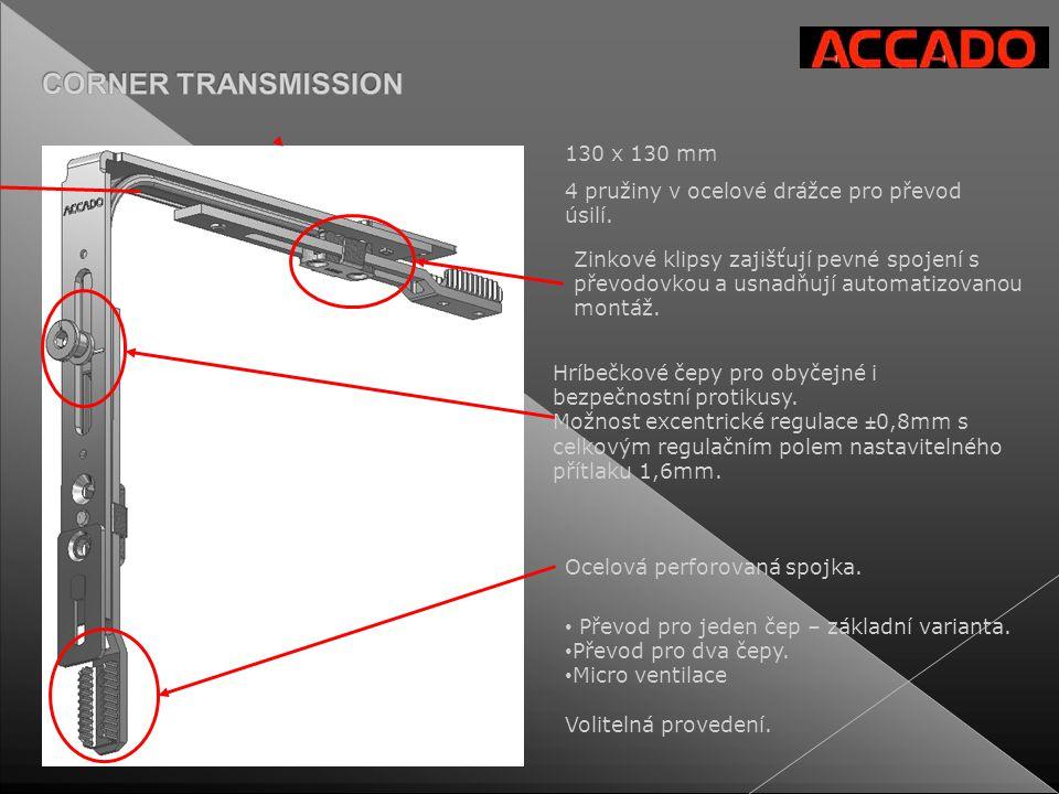 130 x 130 mm Zinkové klipsy zajišťují pevné spojení s převodovkou a usnadňují automatizovanou montáž. 4 pružiny v ocelové drážce pro převod úsilí. Hrí
