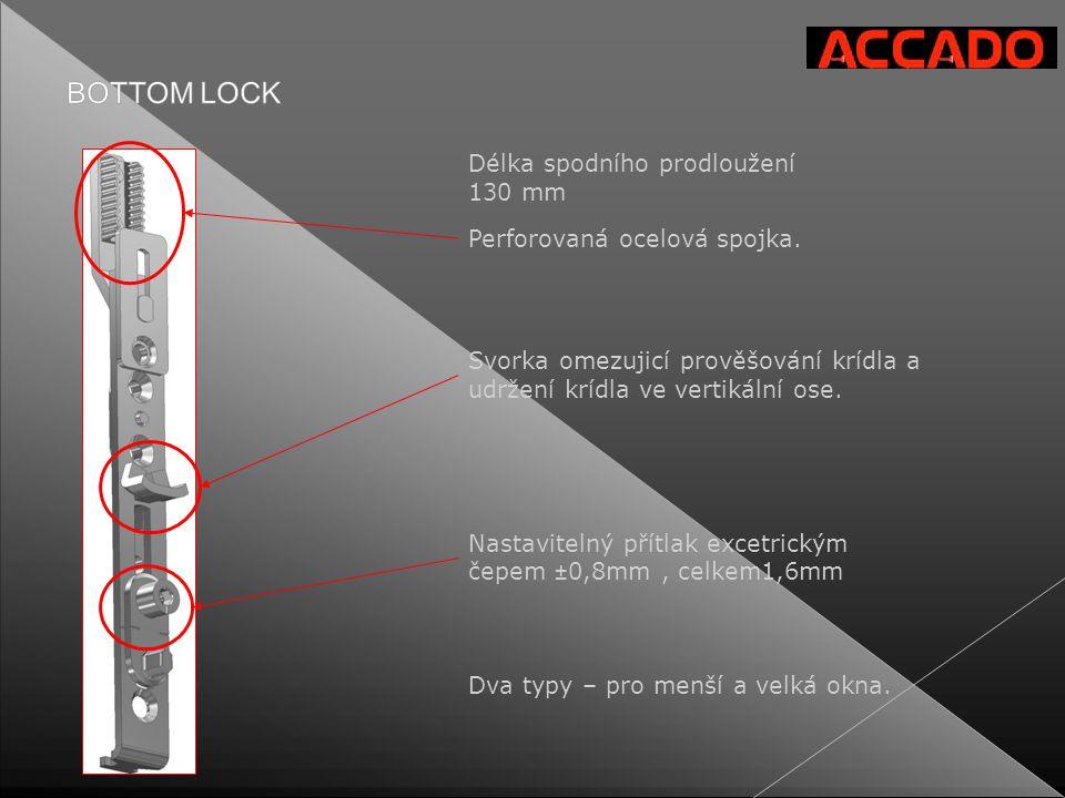 Perforovaná ocelová spojka. Délka spodního prodloužení 130 mm Dva typy – pro menší a velká okna. Svorka omezujicí prověšování krídla a udržení krídla