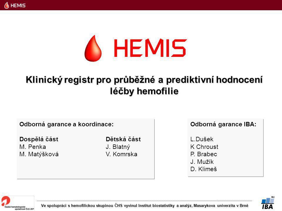 Ve spolupráci s hemofilickou skupinou ČHS vyvinul Institut biostatistiky a analýz, Masarykova univerzita v Brně Odborná garance a koordinace: Dospělá část Dětská část M.
