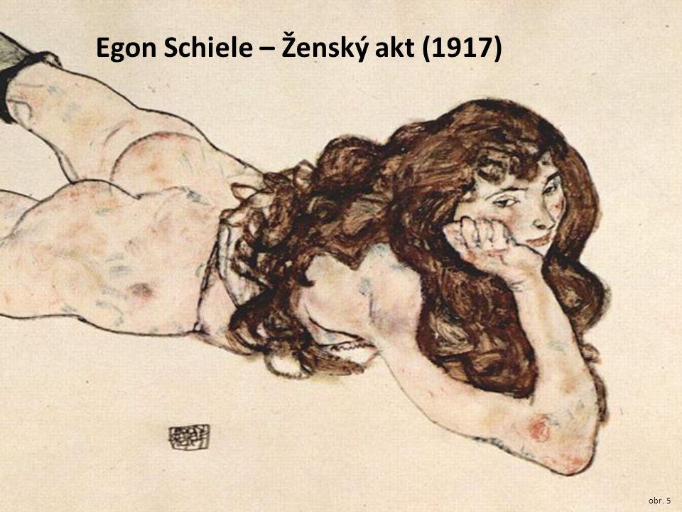 Egon Schiele – Ženský akt (1917) obr. 5