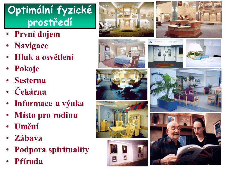 Optimální fyzické prostředí •První dojem •Navigace •Hluk a osvětlení •Pokoje •Sesterna •Čekárna •Informace a výuka •Místo pro rodinu •Umění •Zábava •P