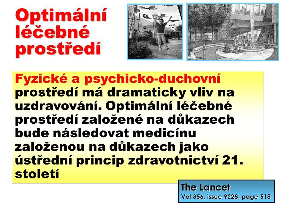 Optimálníléčebnéprostředí Fyzické a psychicko-duchovní prostředí má dramaticky vliv na uzdravování. Optimální léčebné prostředí založené na důkazech b