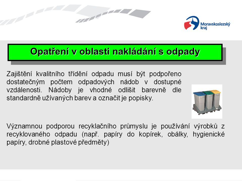 Opatření v oblasti nakládání s odpady Významnou podporou recyklačního průmyslu je používání výrobků z recyklovaného odpadu (např. papíry do kopírek, o