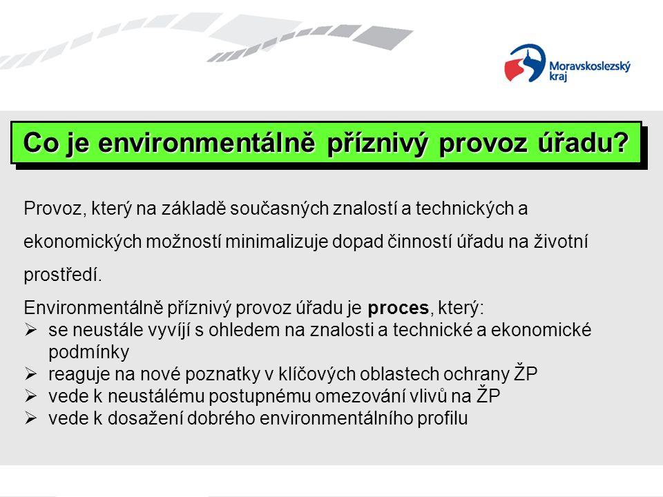 Provoz, který na základě současných znalostí a technických a ekonomických možností minimalizuje dopad činností úřadu na životní prostředí. Environment