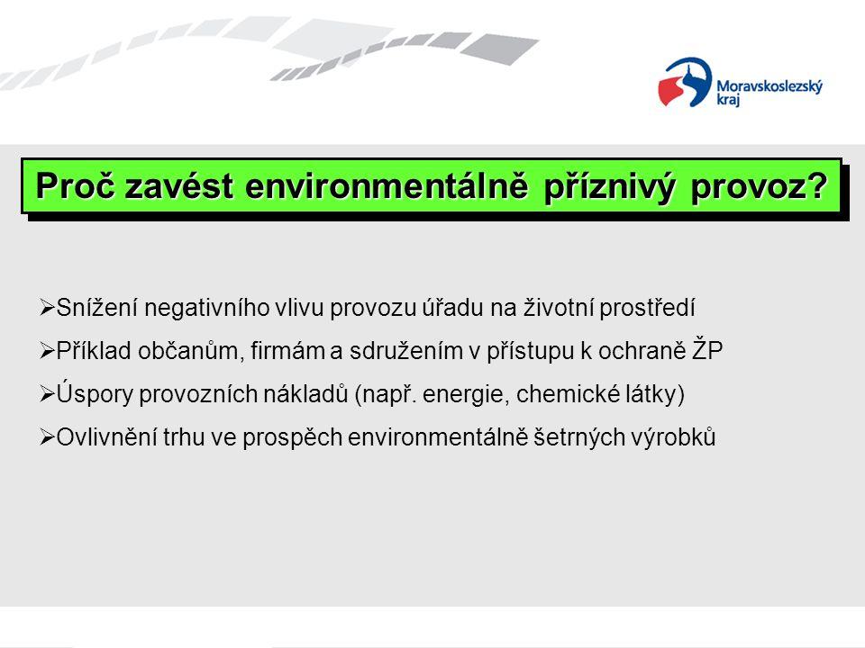  Snížení negativního vlivu provozu úřadu na životní prostředí  Příklad občanům, firmám a sdružením v přístupu k ochraně ŽP  Úspory provozních nákladů (např.