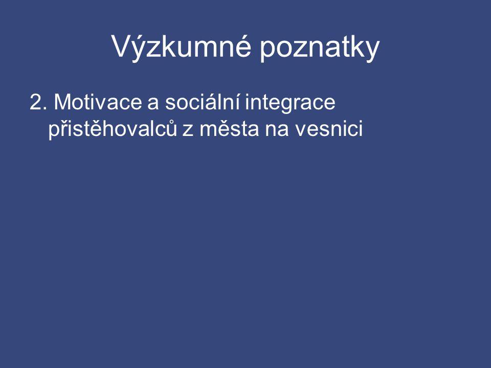 Výzkumné poznatky 2. Motivace a sociální integrace přistěhovalců z města na vesnici
