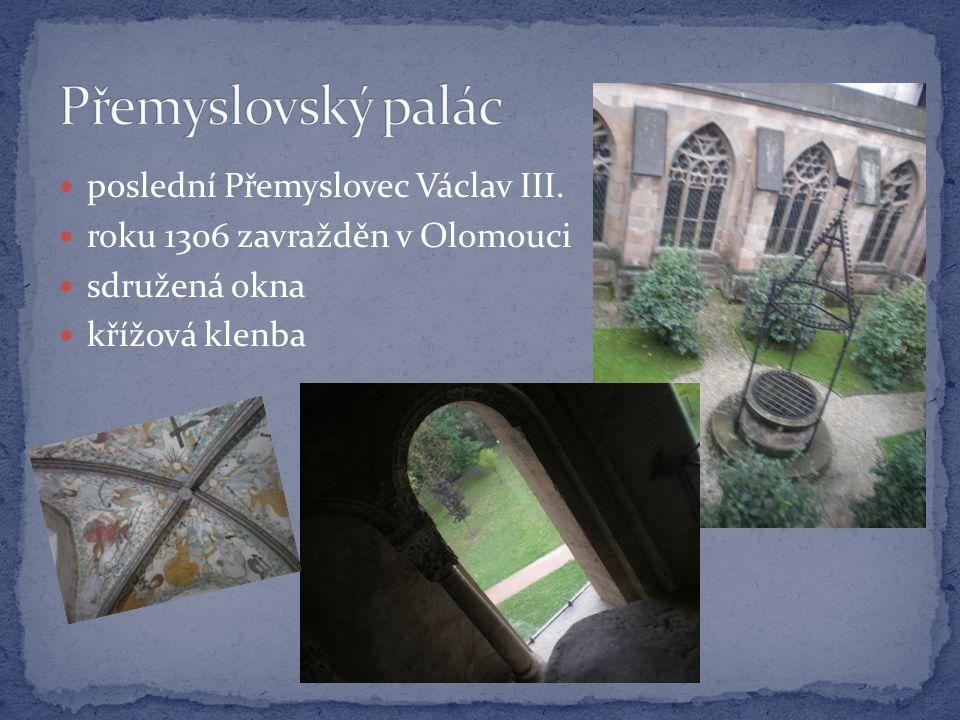  poslední Přemyslovec Václav III.  roku 1306 zavražděn v Olomouci  sdružená okna  křížová klenba