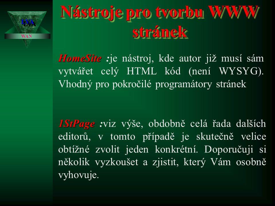 Nástroje pro tvorbu WWW stránek LVALVA WAN FrontPage98 FrontPage98 :je relativně použitelný nástroj pro první seznámení s tvorbou stránek. Zpravidla j