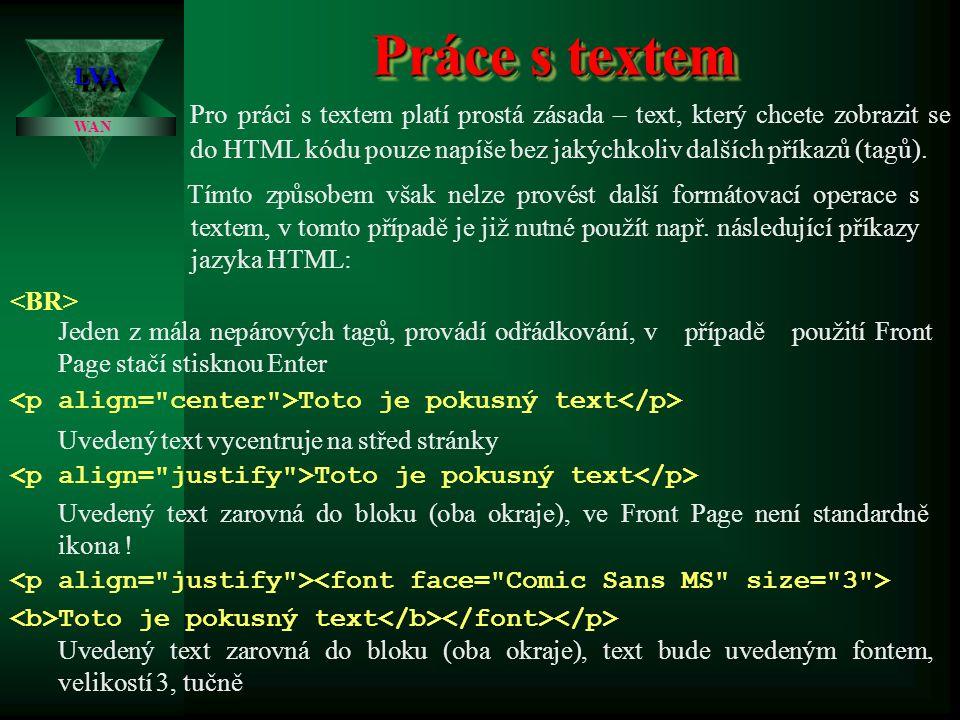Programování WWW stránek LVALVA WAN V předchozí prezentaci jsme si stanovili základní principy pro tvorbu stránek, ukázali jsme si dva základní postup
