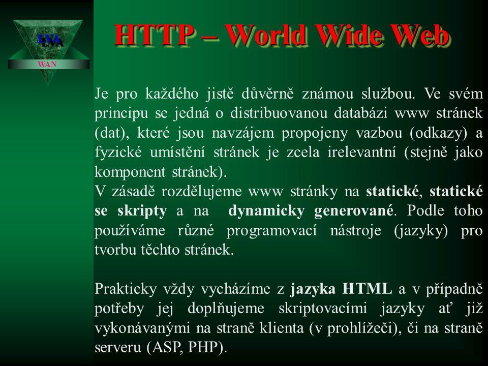 Nástroje pro tvorbu WWW stránek LVALVA WAN Word / Excel Word / Excel :je zřejmě nejjednodušší a nejméně efektivní nástroj pomocí kterého se dá HTML stránka vygenerovat.