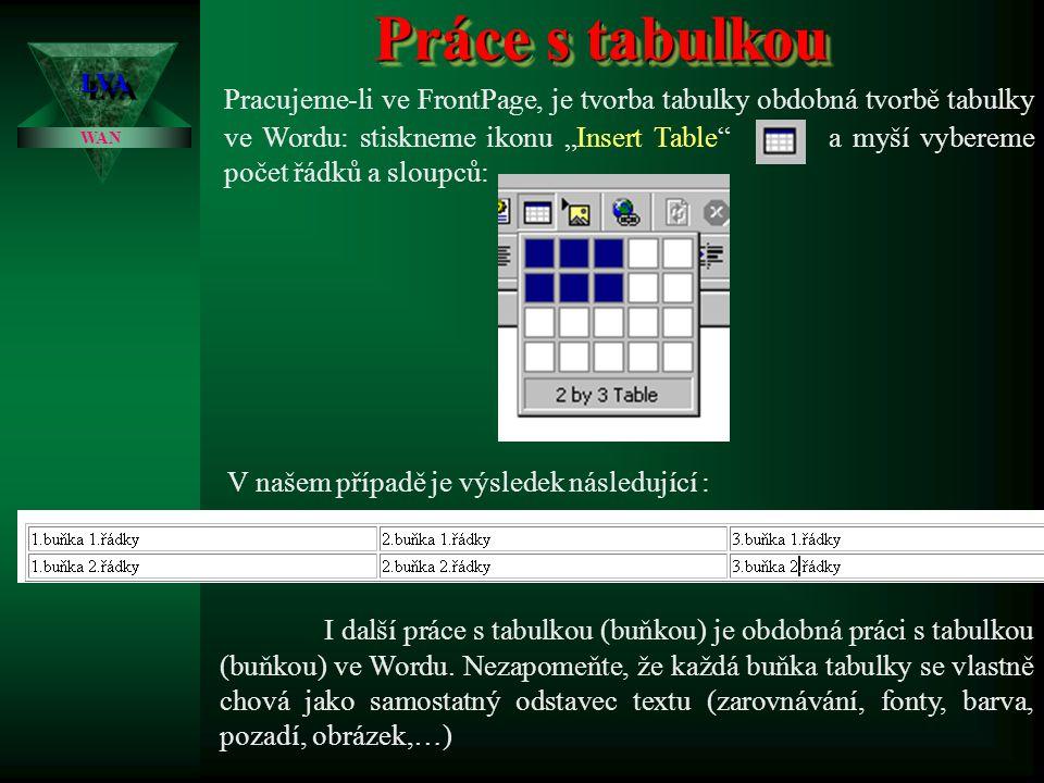 """Práce s tabulkou LVALVA WAN Jak jsem si již několikrát zdůraznili, je tabulka základním formátovacím nástrojem při tvorbě WWW stránek. Umožňuje """"udrže"""