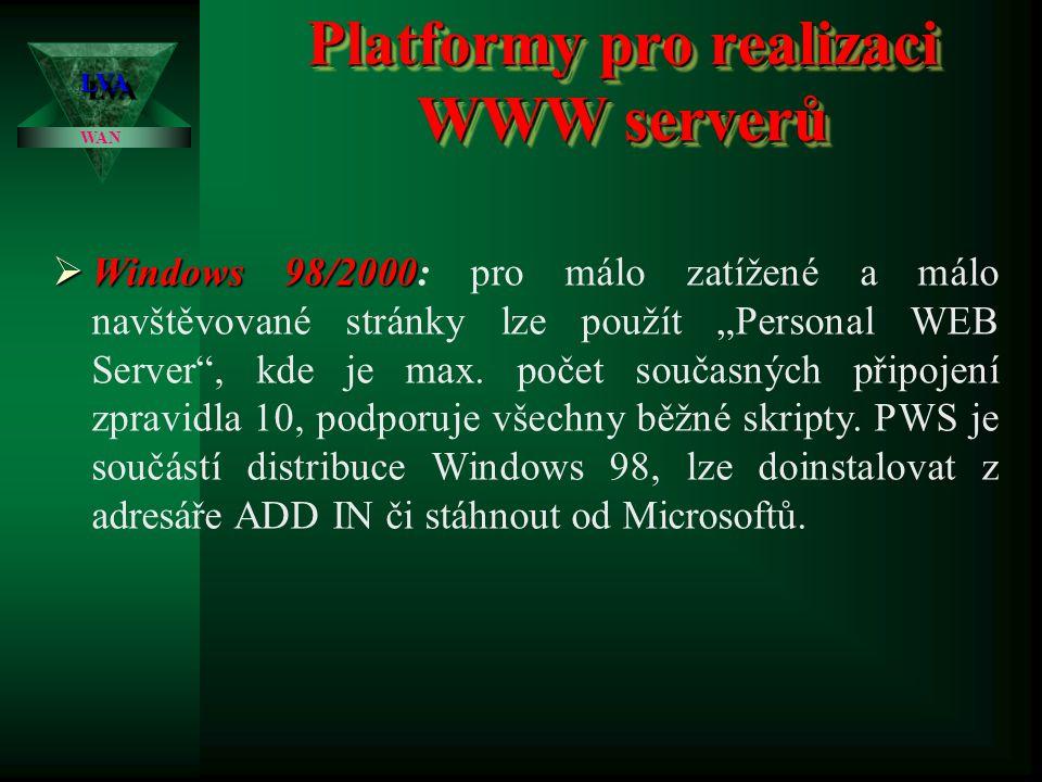 Platformy pro realizaci WWW serverů LVALVA WAN  OS UNIX  OS UNIX: pravděpodobně nejpoužívanější a nejstabilnější OS pro WEBy, převažuje aplikace APA