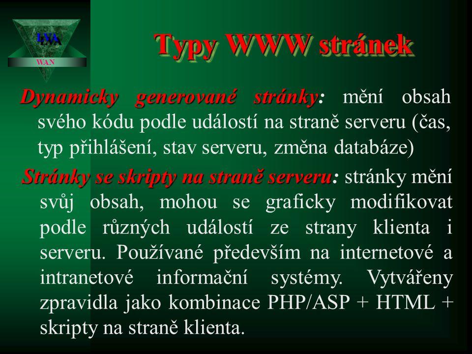 Typy WWW stránek LVALVA WAN Statické stránky Statické stránky: stránky jsou vytvořeny čistě v kódu HTML, obsah ani grafická podoba stránek se nemění v
