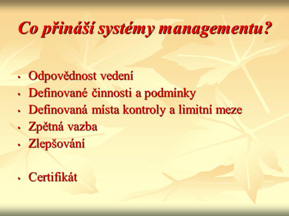 Co přináší systémy managementu? • Odpovědnost vedení • Definované činnosti a podmínky • Definovaná místa kontroly a limitní meze • Zpětná vazba • Zlep