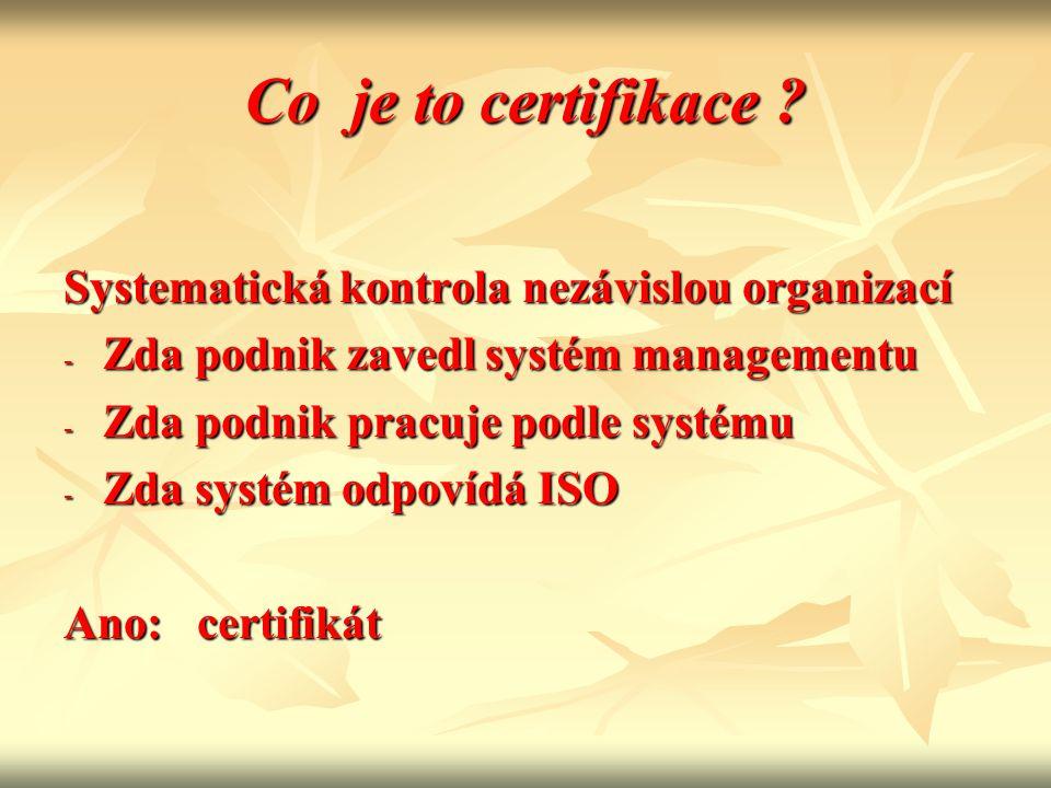 Co je to certifikace ? Systematická kontrola nezávislou organizací - Zda podnik zavedl systém managementu - Zda podnik pracuje podle systému - Zda sys