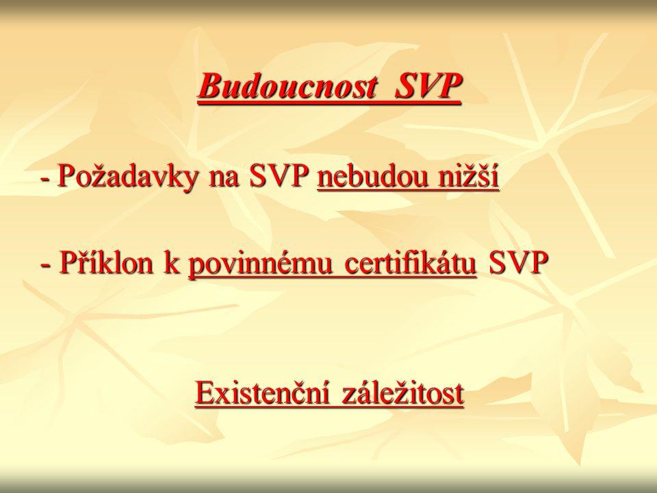 Budoucnost SVP - Požadavky na SVP nebudou nižší - Příklon k povinnému certifikátu SVP Existenční záležitost