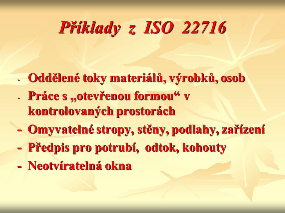 """Příklady z ISO 22716 - Oddělené toky materiálů, výrobků, osob - Práce s """"otevřenou formou"""" v kontrolovaných prostorách - Omyvatelné stropy, stěny, pod"""