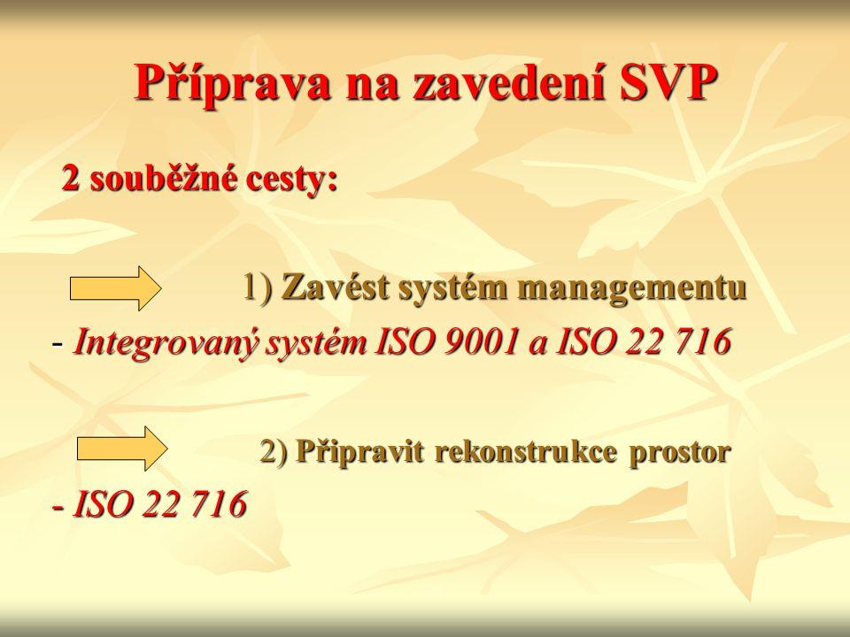Příprava na zavedení SVP 2 souběžné cesty: 2 souběžné cesty: 1) Zavést systém managementu 1) Zavést systém managementu - Integrovaný systém ISO 9001 a